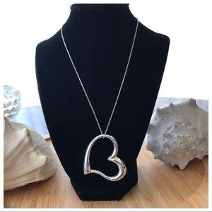 """Vintage Large Sterling Silver Floating Heart 19.5"""""""